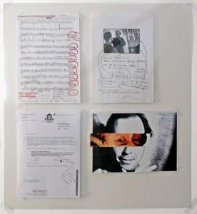 « Etanos Trazom, suite ». Musique à l'envers, pièce musicale d'art médiocre, 1979, retranscrit en 1996. Partition et dépôt à la Sabam. Studio 3J30 RRBF. Lizène compositeur du renversé (protocole de performance) Sculpture génétique 1971, Petit maître croisé avec les yeux de Mozart à l'envers, 1996.
