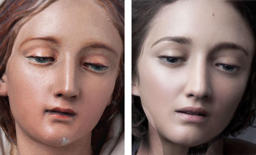 Vierge polychrome conservée au Grand Curtius de Liège, nouveau visage à partir de Marion Cotillard pour Dior, de la série New Faces 2011-2012, photographies couleurs marouflée sur aluminium, (2) x 50 x 40 cm
